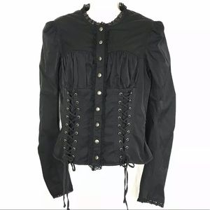 BETSEY JOHNSON 🖤 steampunk lace ribbed blouse